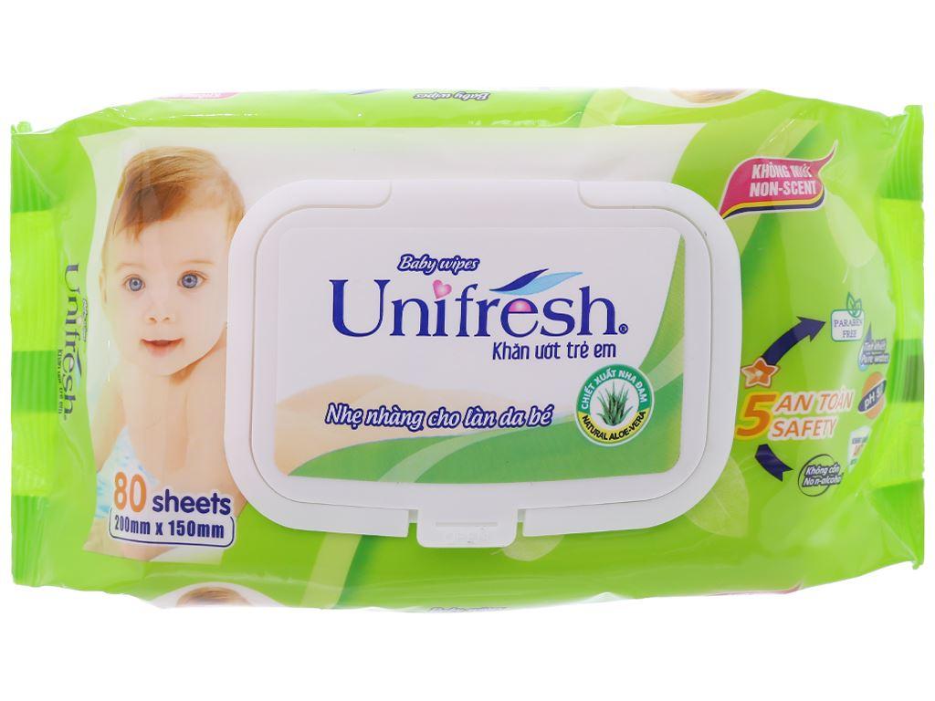 Khăn ướt em bé Unifresh Aloe Vera không mùi gói 80 miếng 1