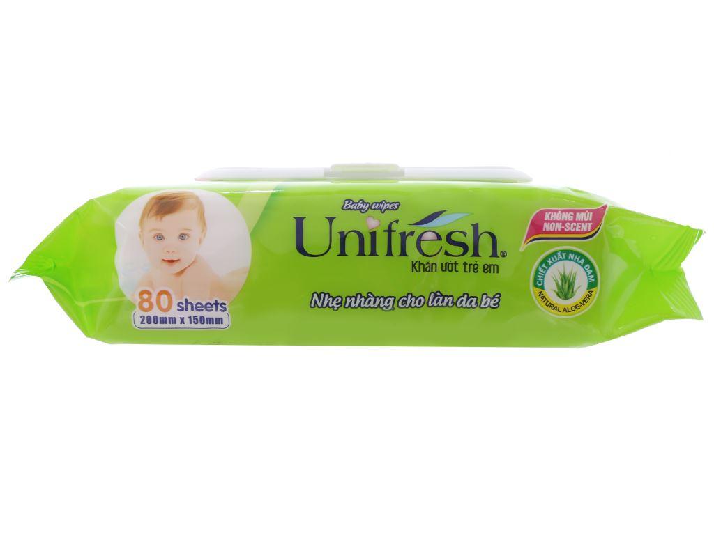 Khăn ướt em bé Unifresh Aloe Vera không mùi gói 80 miếng 3