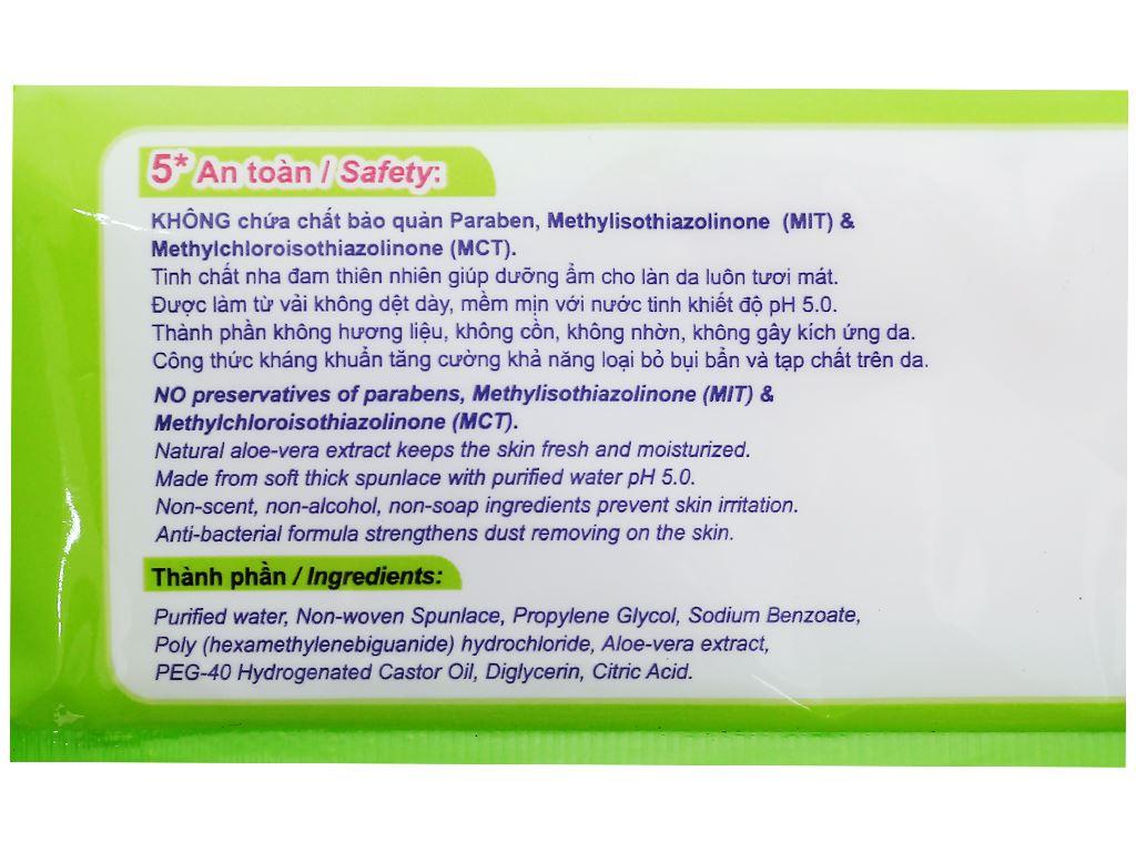 Khăn ướt em bé Unifresh Aloe Vera không mùi gói 80 miếng 4