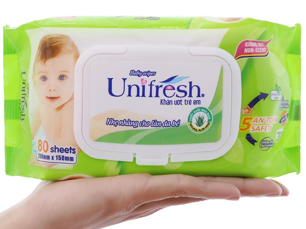 Khăn ướt em bé Unifresh Aloe Vera không mùi gói 80 miếng 5