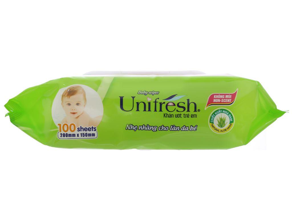 Khăn ướt em bé Unifresh Aloe Vera không mùi gói 100 miếng 3