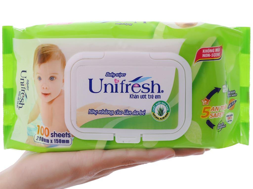 Khăn ướt em bé Unifresh Aloe Vera không mùi gói 100 miếng 5