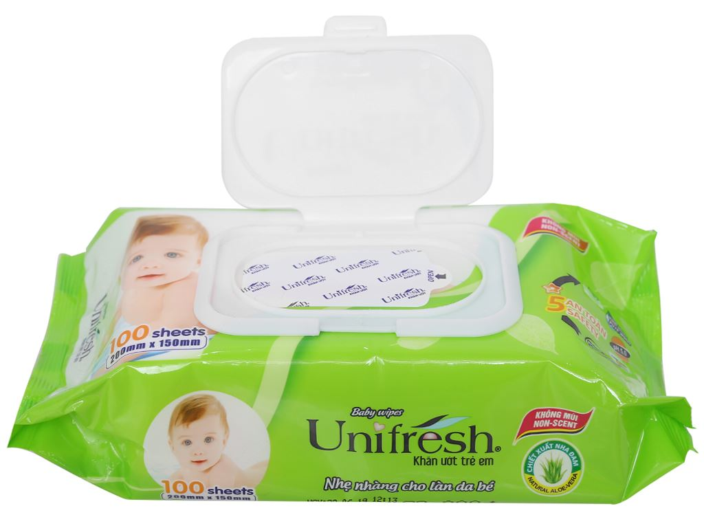 Khăn ướt em bé Unifresh Aloe Vera không mùi gói 100 miếng 6