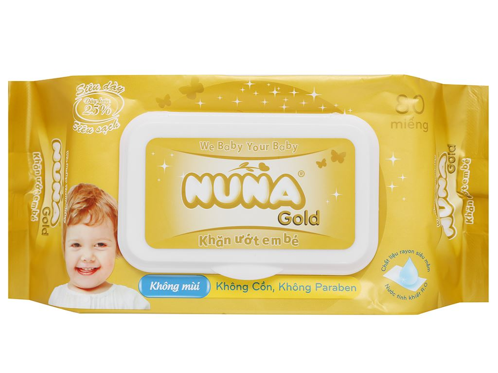 Khăn ướt em bé Nuna Gold không mùi gói 80 miếng 10