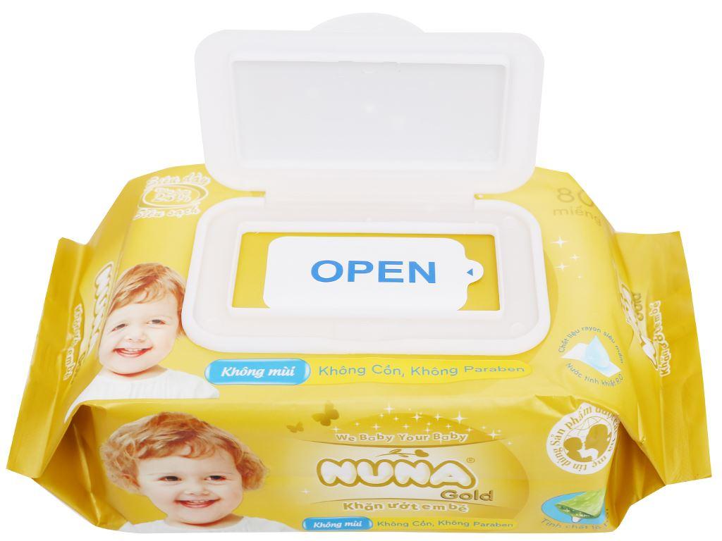 Khăn ướt em bé Nuna Gold không mùi gói 80 miếng 6