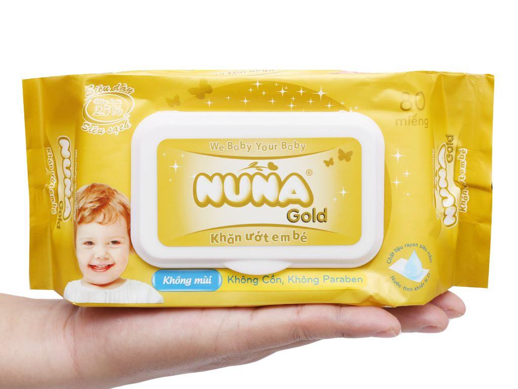 Khăn ướt em bé Nuna Gold không mùi gói 80 miếng 7
