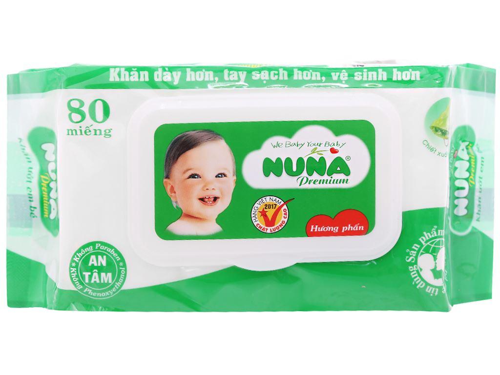 Khăn ướt em bé Nuna Premium hương phấn thơm gói 80 miếng 1