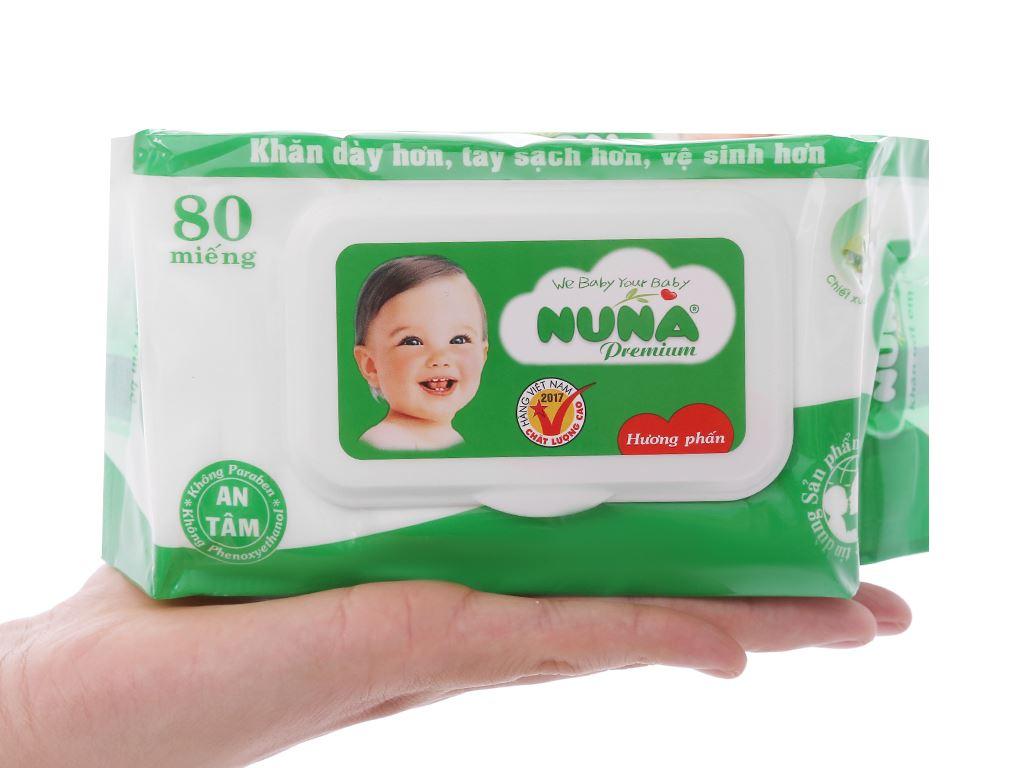 Khăn ướt em bé Nuna Premium hương phấn thơm gói 80 miếng 4