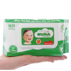 Khăn ướt em bé Nuna Premium hương phấn thơm gói 80 miếng