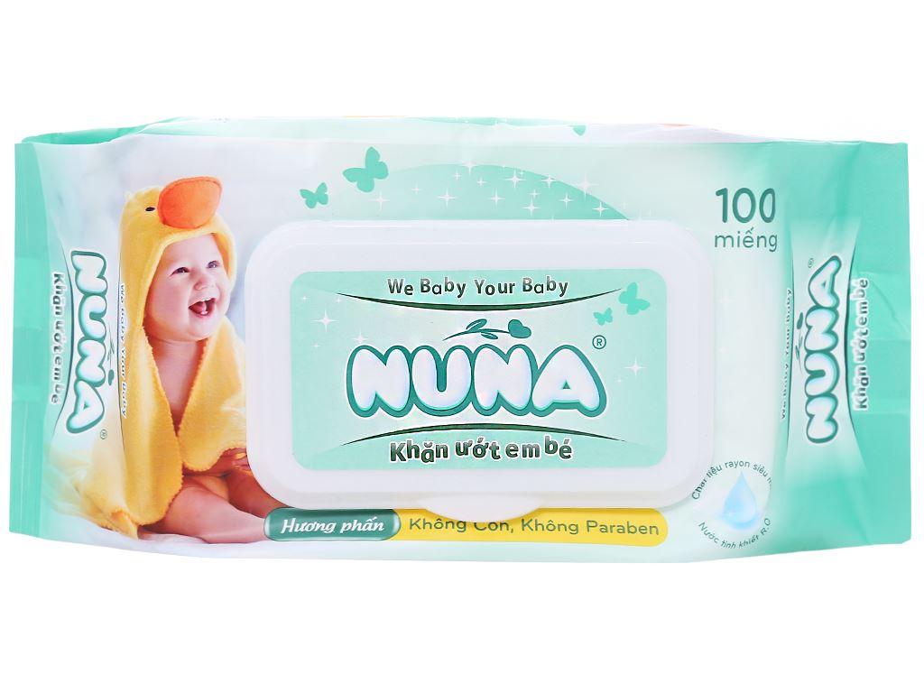 Khăn ướt em bé Nuna hương phấn thơm gói 100 miếng 2