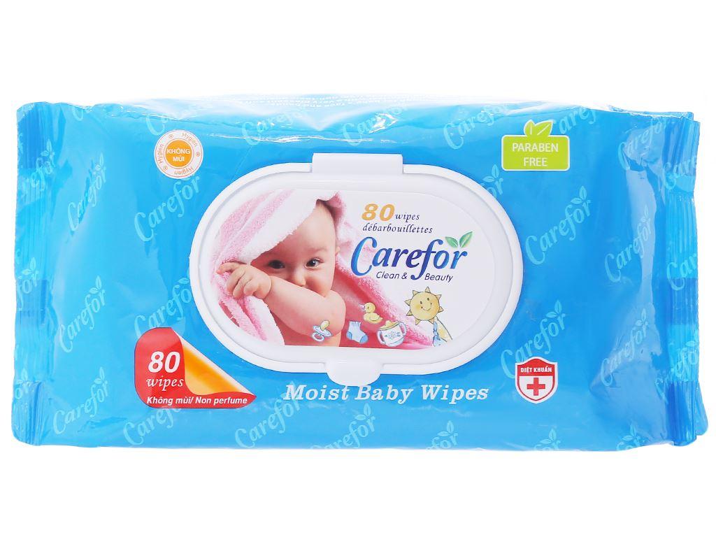 Khăn ướt em bé Carefor không mùi gói 80 miếng 1