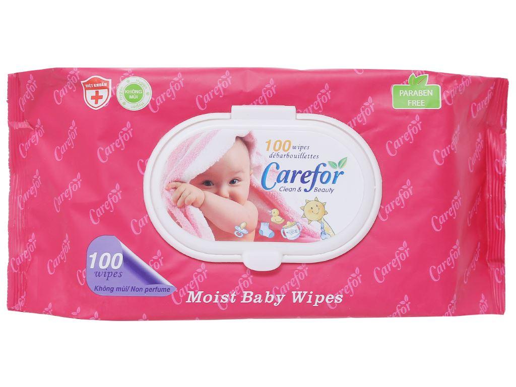 Khăn ướt em bé Carefor không mùi gói 100 miếng 1