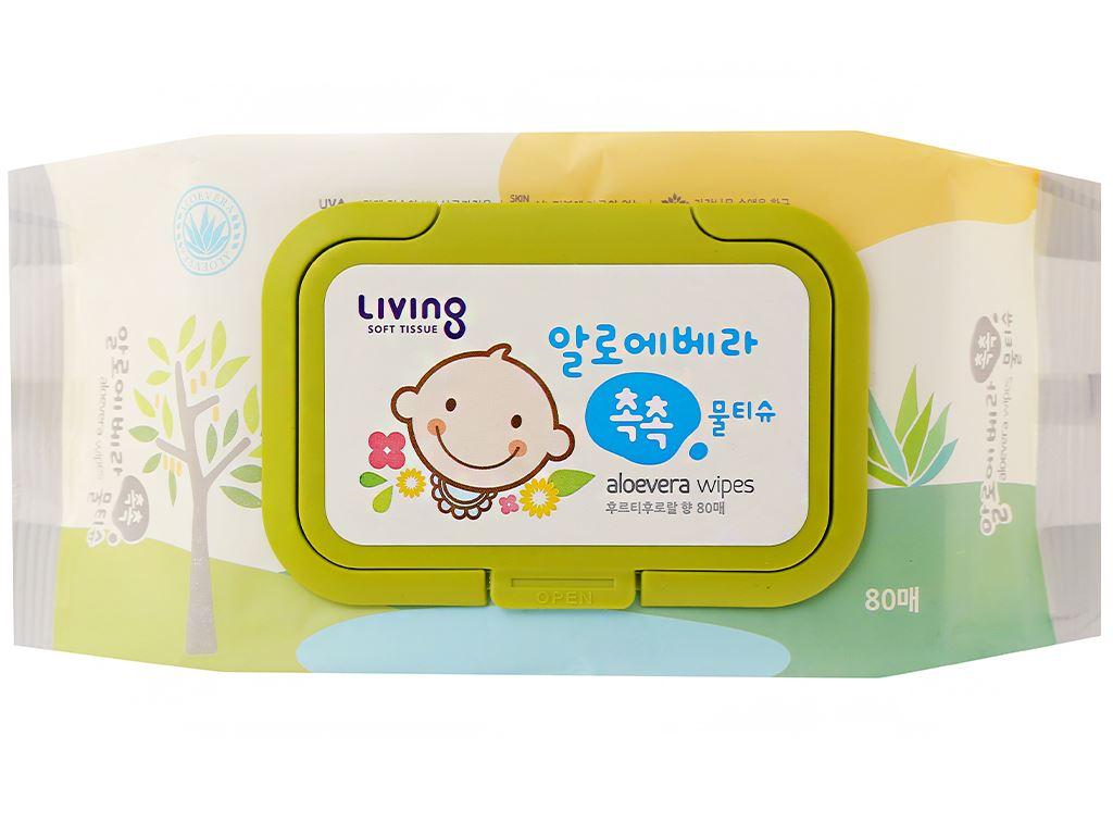 Khăn ướt em bé Living Aloe Vera Chok Chok hương tự nhiên gói 80 miếng 1