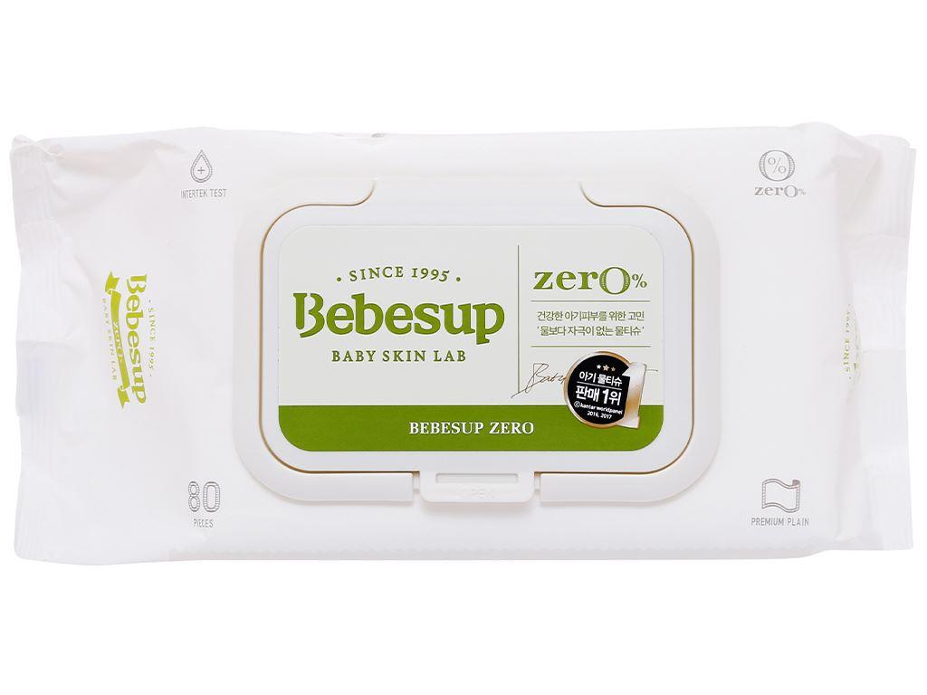 Khăn ướt em bé Bebesup Zero hương tự nhiên gói 80 miếng 2