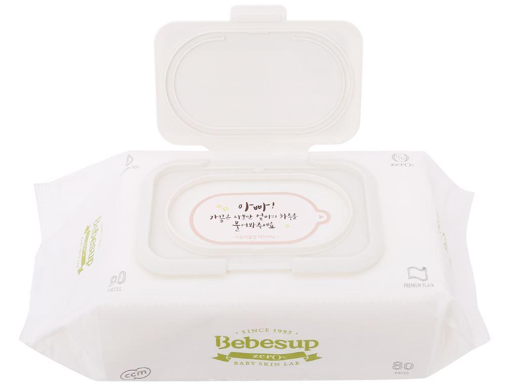 Khăn ướt em bé Bebesup Zero hương tự nhiên gói 80 miếng 6