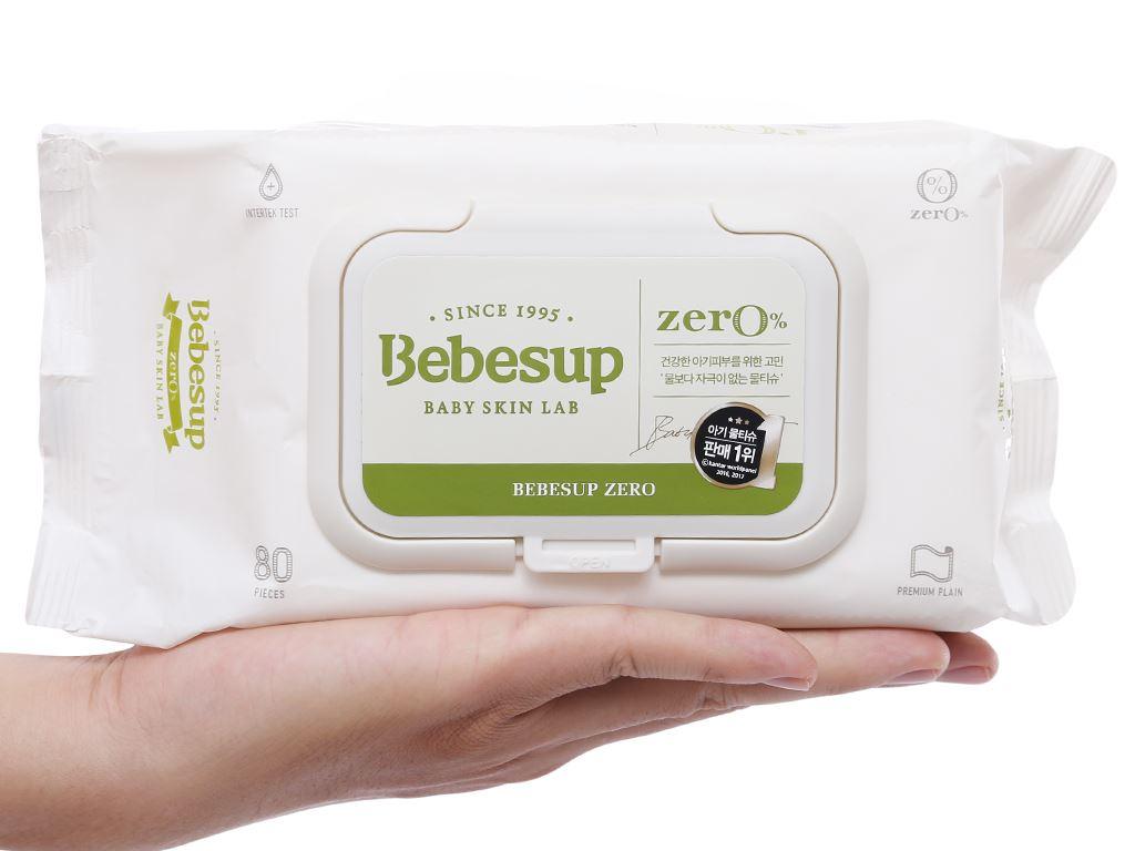 Khăn ướt em bé Bebesup Zero hương tự nhiên gói 80 miếng 8