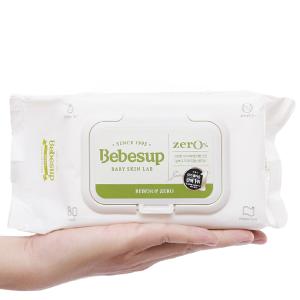 Khăn ướt em bé Bebesup Zero hương tự nhiên gói 80 miếng