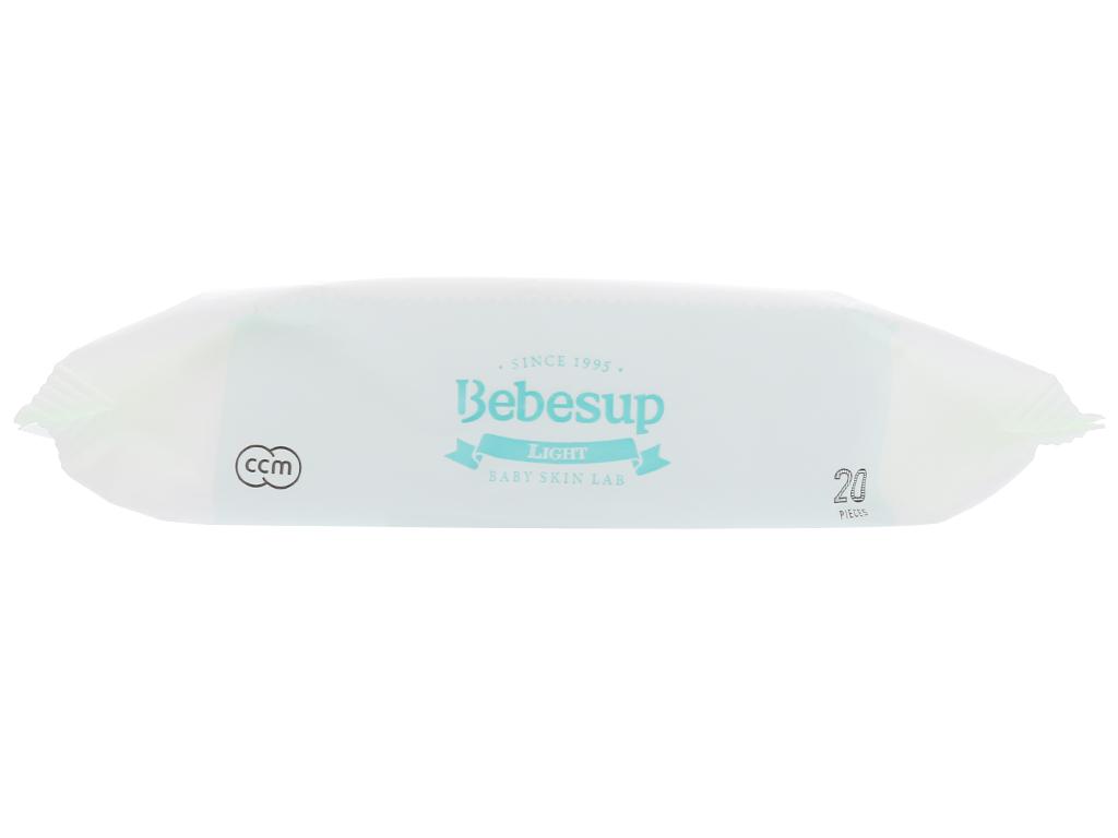 Khăn ướt em bé Bebesup Light hương tự nhiên gói 20 miếng 4
