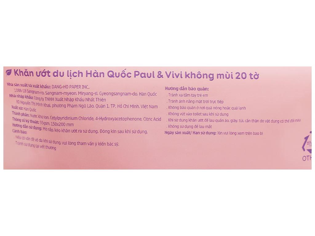 Khăn ướt em bé Paul & Vivi không mùi gói 20 miếng 5