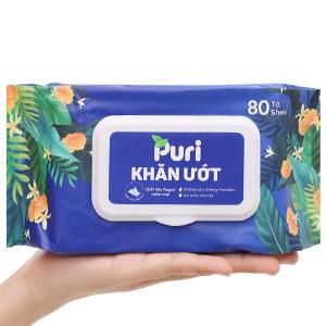 Khăn ướt Puri không mùi gói 80 miếng