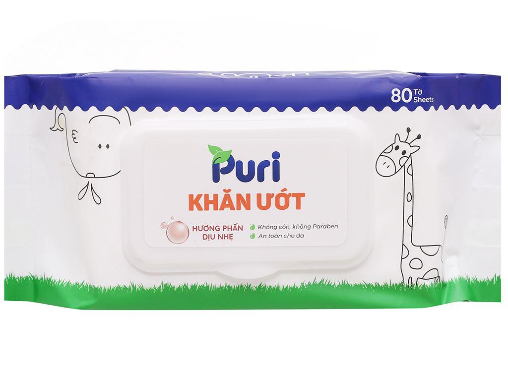 Khăn ướt Puri hương phấn gói 80 miếng 1