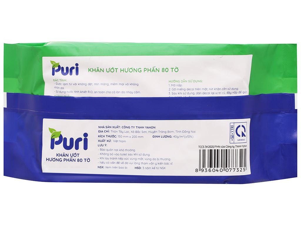 Khăn ướt Puri hương phấn gói 80 miếng 2