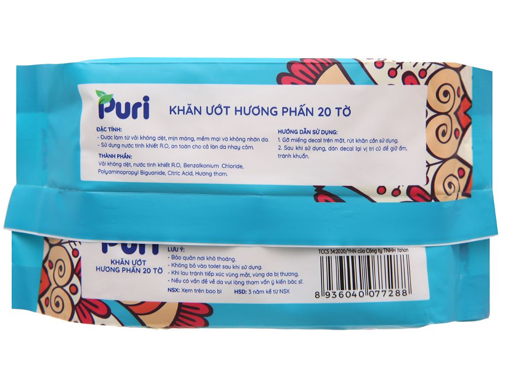 Khăn ướt Puri hương phấn gói 20 miếng 2