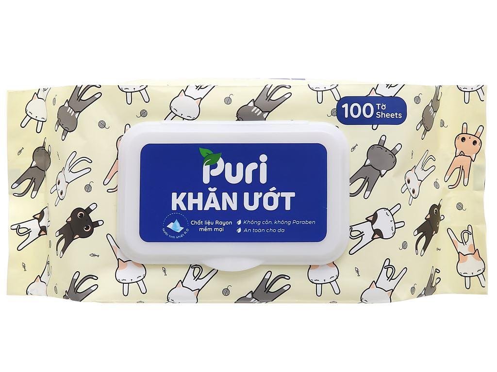 Khăn ướt Puri không mùi gói 100 miếng (giao màu ngẫu nhiên) 1