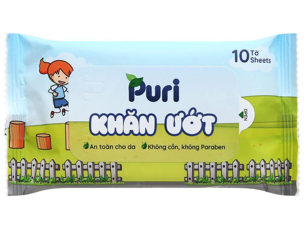 Khăn ướt Puri không mùi gói 10 miếng 1