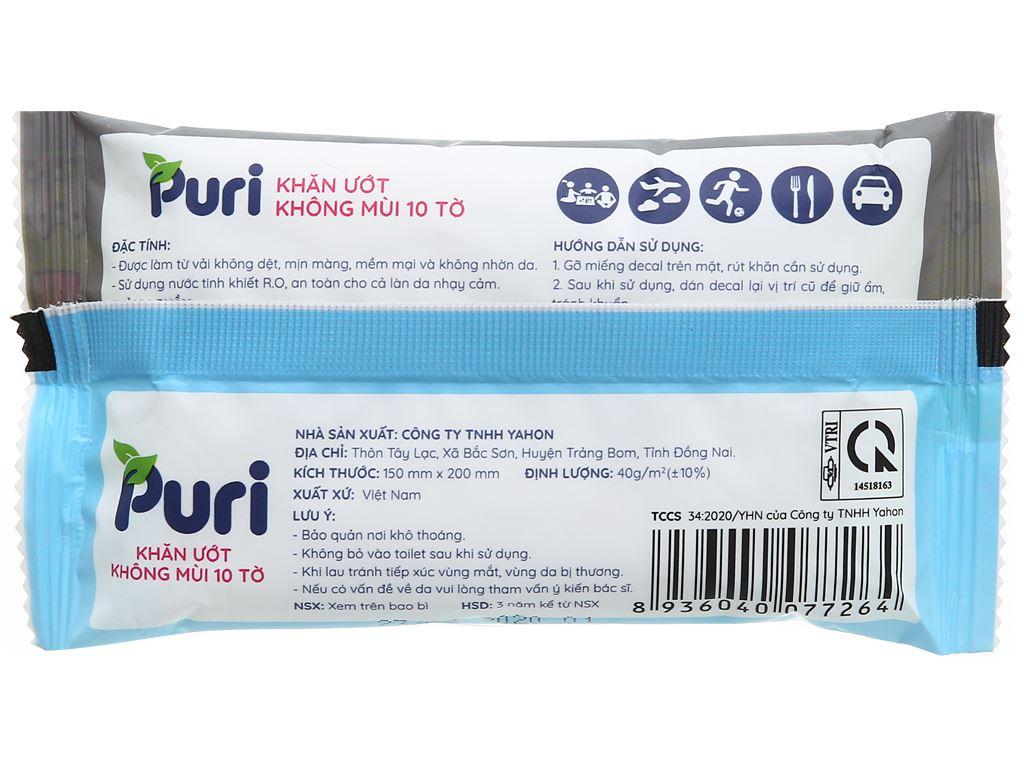 Khăn ướt Puri không mùi gói 10 miếng 2