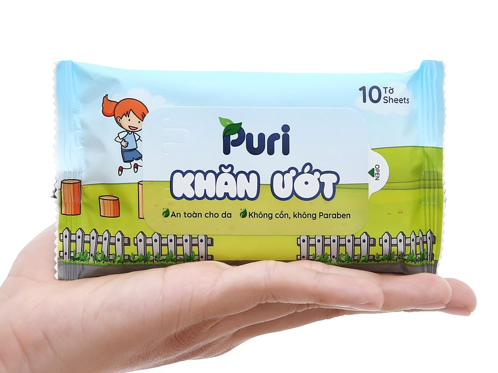 Khăn ướt Puri không mùi gói 10 miếng 4