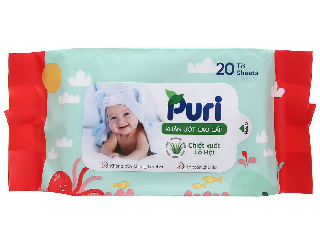 Khăn ướt em bé Puri chiết xuất lô hội gói 20 miếng 1