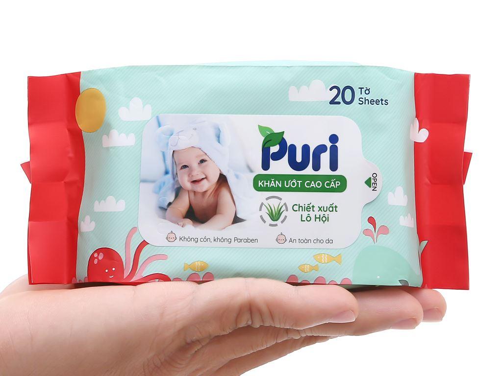 Khăn ướt em bé Puri chiết xuất lô hội gói 20 miếng 6