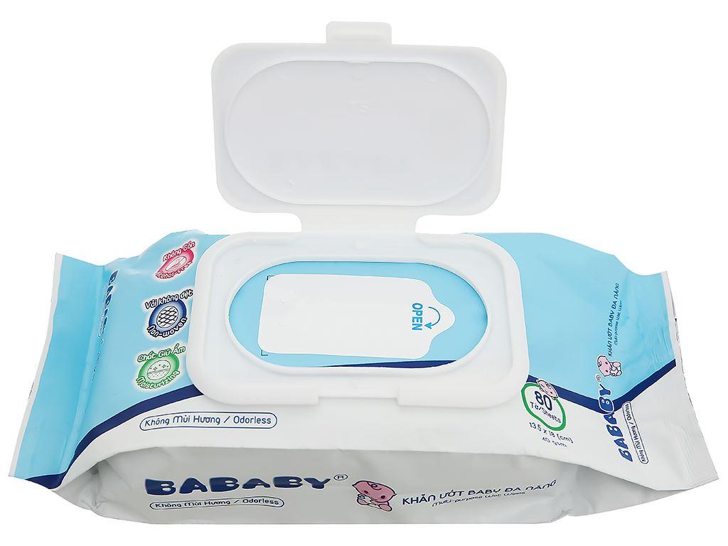 Khăn ướt em bé Bababy xanh gói 80 miếng 7