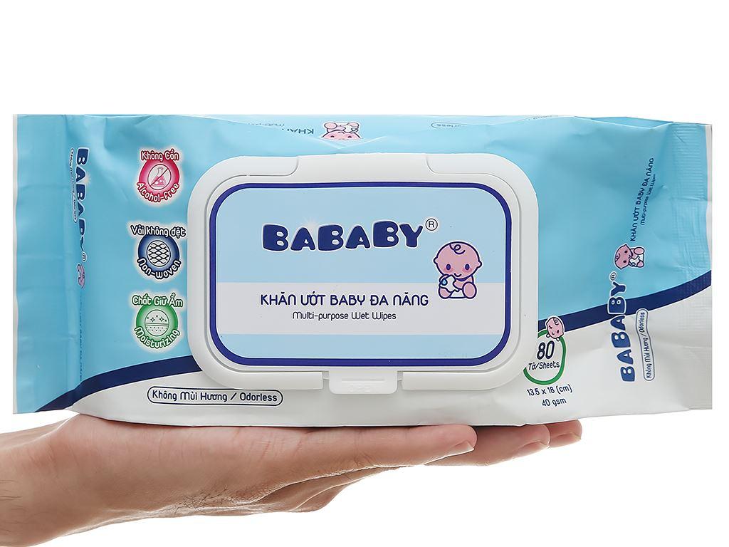 Khăn ướt em bé Bababy xanh gói 80 miếng 9