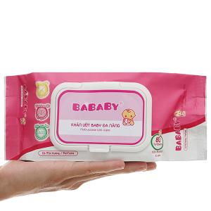 Khăn ướt em bé Bababy hồng gói 80 miếng