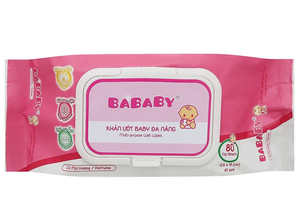 Khăn ướt em bé Bababy hồng gói 80 miếng 1
