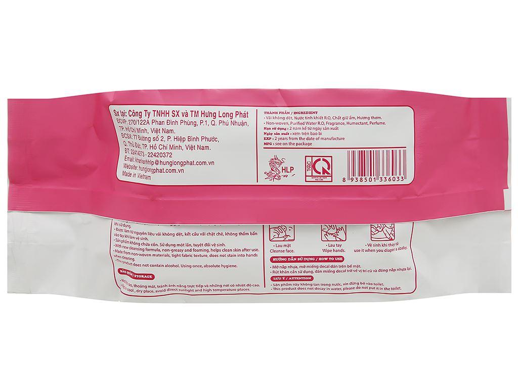 Khăn ướt em bé Bababy hồng gói 80 miếng 2