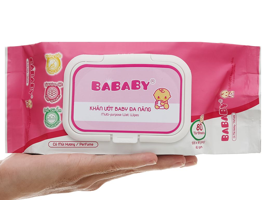 Khăn ướt em bé Bababy hồng gói 80 miếng 9