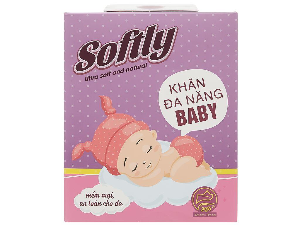 Khăn lau đa năng Softly Baby hộp 200 miếng 1