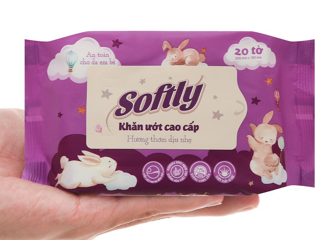 Khăn ướt Softly cao cấp hương dịu nhẹ gói 20 miếng 7