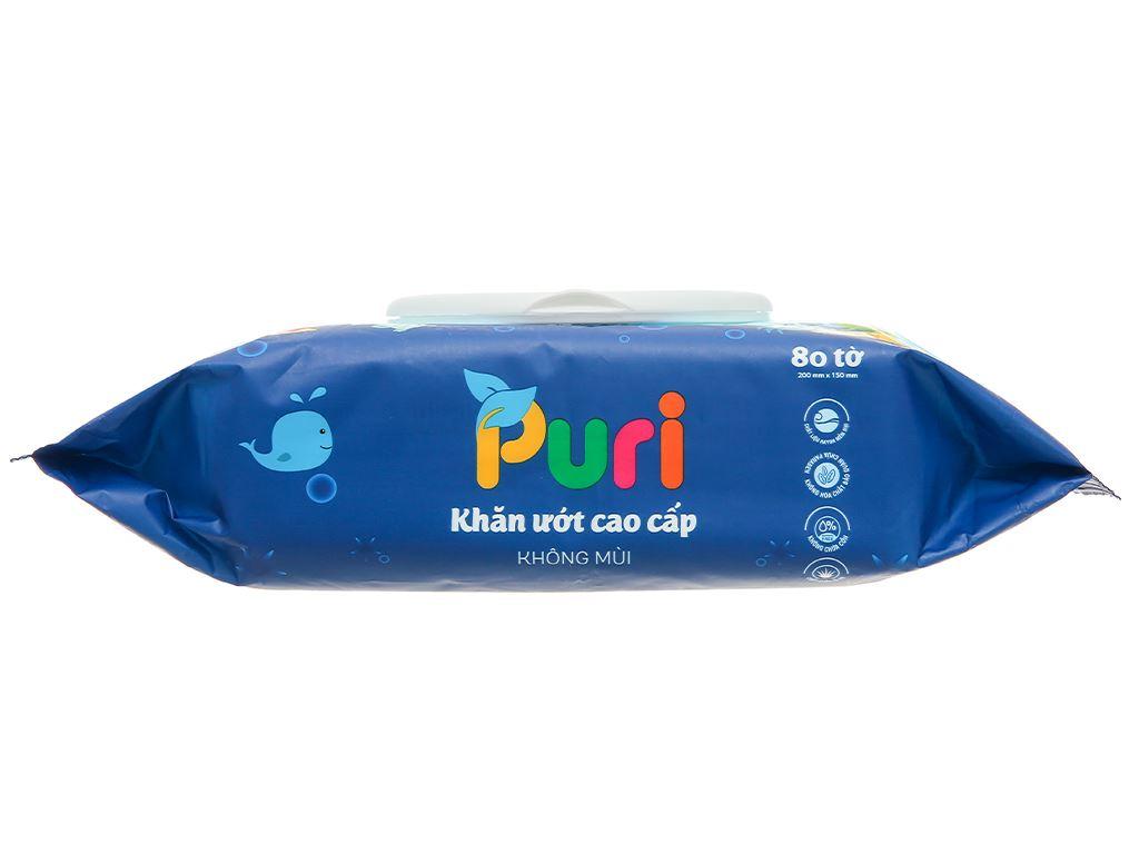 Khăn ướt Puri cao cấp không mùi 80 miếng 3