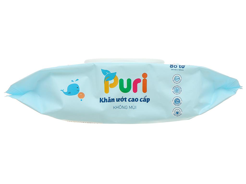 Khăn ướt Puri cao cấp không mùi 80 miếng 4