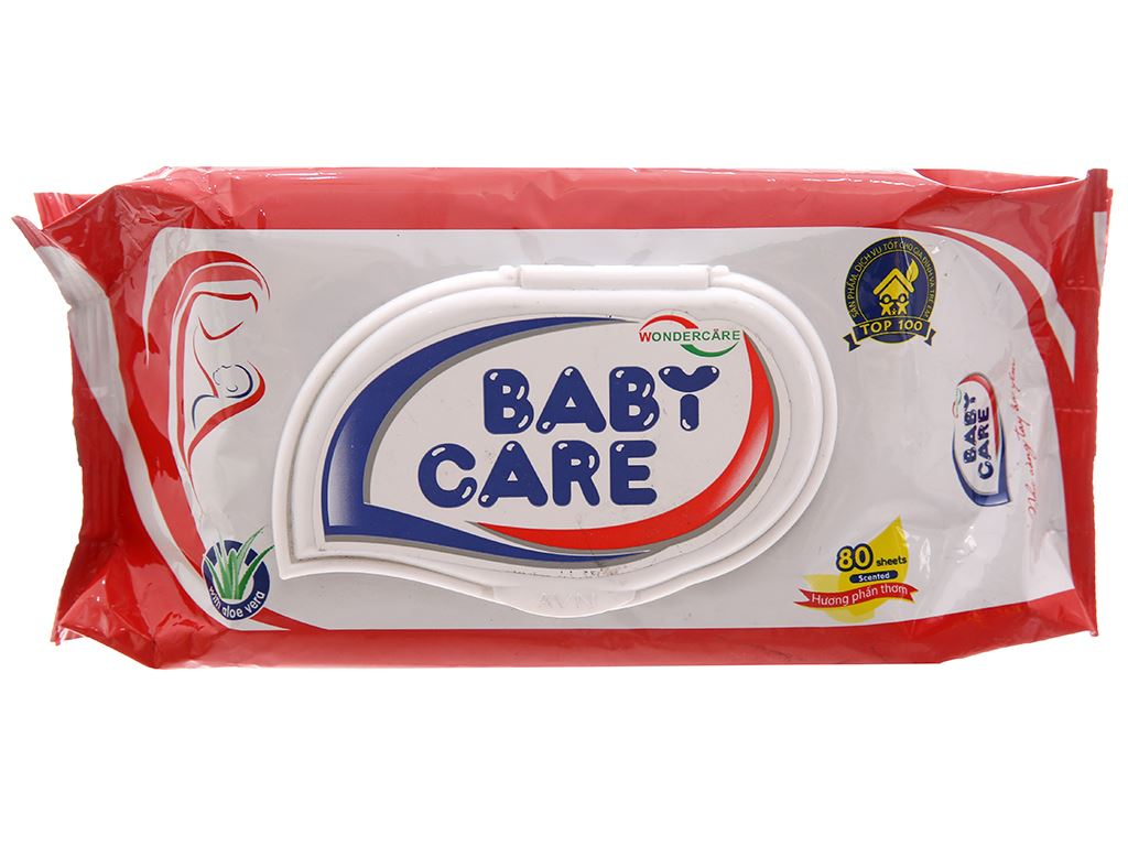 Khăn ướt em bé Baby Care hương phấn thơm gói 80 miếng 2