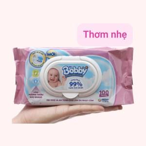 Khăn ướt em bé Bobby hương thơm nhẹ gói 100 miếng