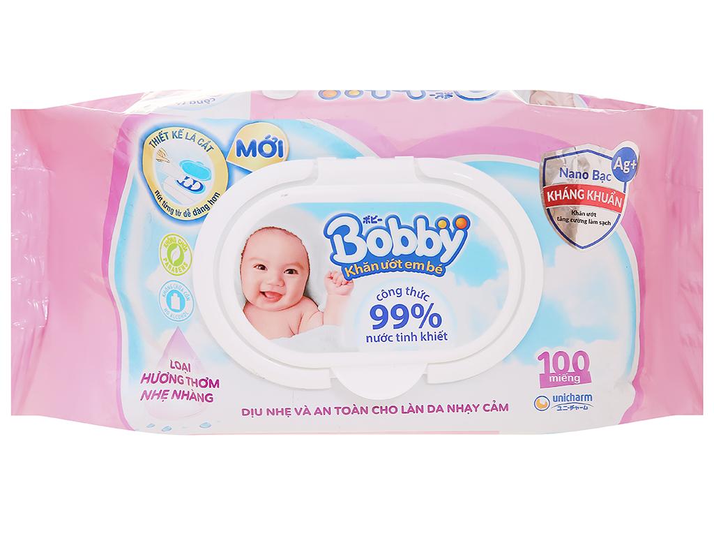 Khăn ướt em bé Bobby hương thơm nhẹ gói 100 miếng 1