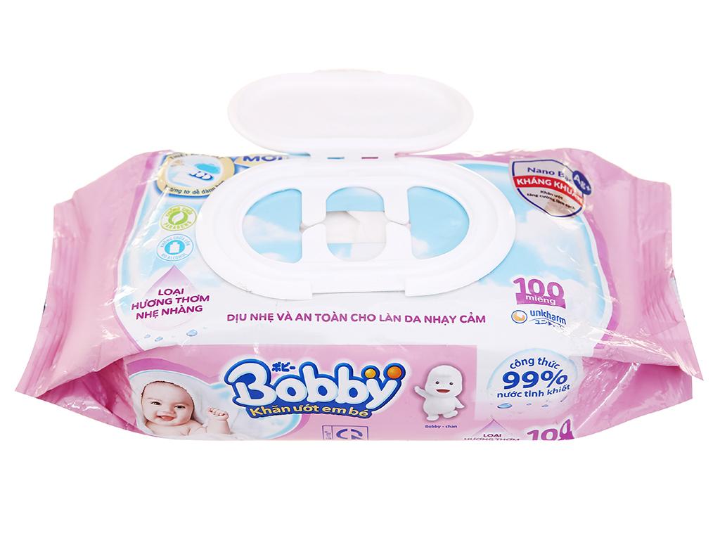 Khăn ướt em bé Bobby hương thơm nhẹ gói 100 miếng 5