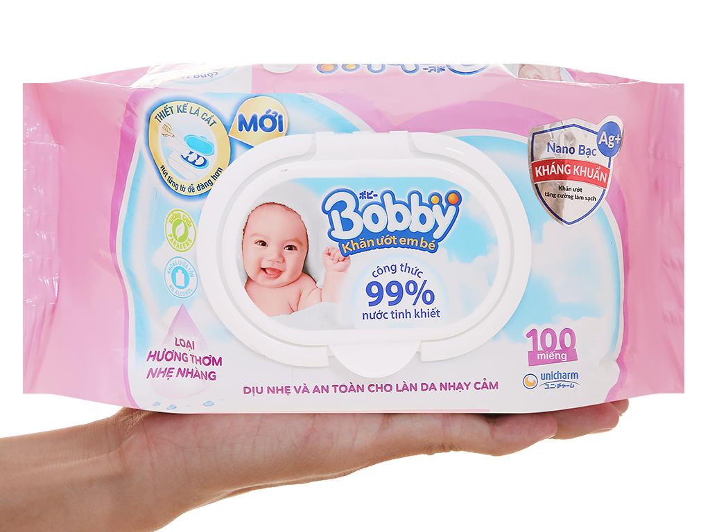 Khăn ướt em bé Bobby hương thơm nhẹ gói 100 miếng 7