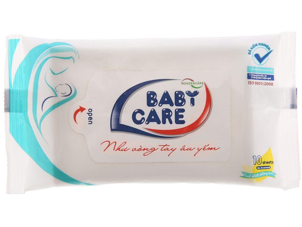 Khăn ướt em bé Baby Care không mùi gói 10 miếng 2