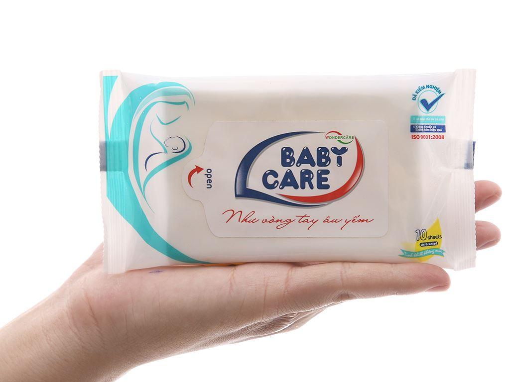 Khăn ướt em bé Baby Care không mùi gói 10 miếng 5